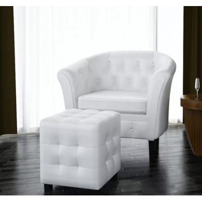 VidaXL Artificial Leather Barrel Tub Chair Armchair Club Bar Coffee Chair Single Sofa Living Room Furniture White Silver Gold