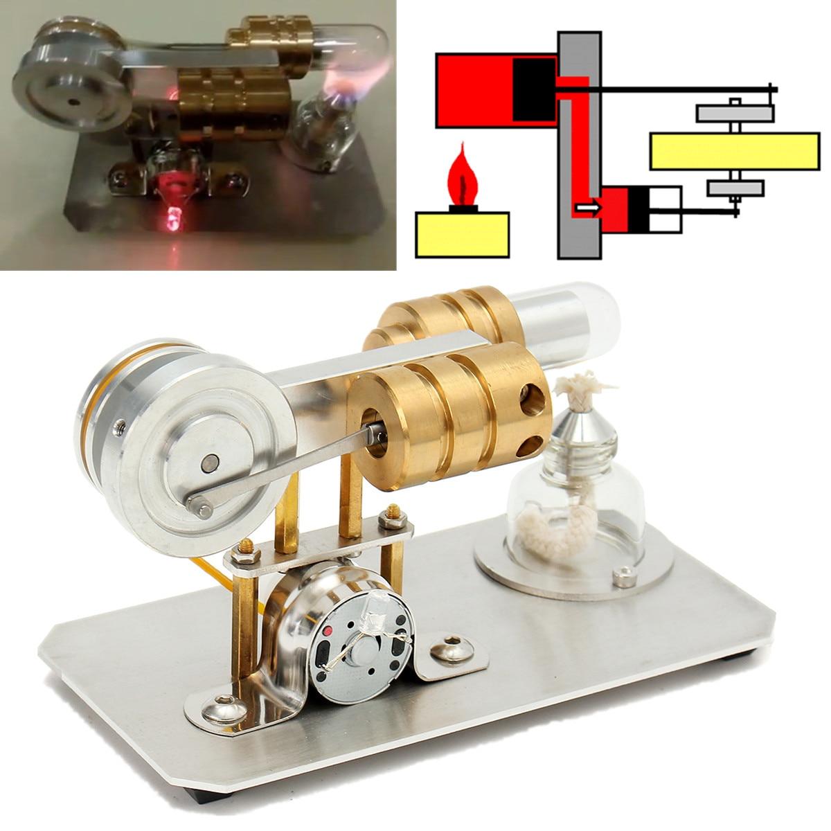 Avec lumière LED principe du moteur intuitif Mini moteur à Air chaud Stirling moteur modèle jouet éducatif Kit cadeau pour l'enseignement en classe