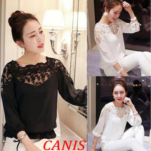 2019 Sexy Lace Tops blusas Slim Plus size lace blouse shirt long sleeve women shirts beaded openwork Women clothing 2XL