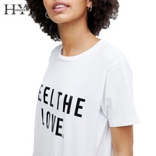 HYH Haoyihui 2019 Summer New Girl Pure Color White Simple Commuter Casual Round Neck Letter Print T-shirt