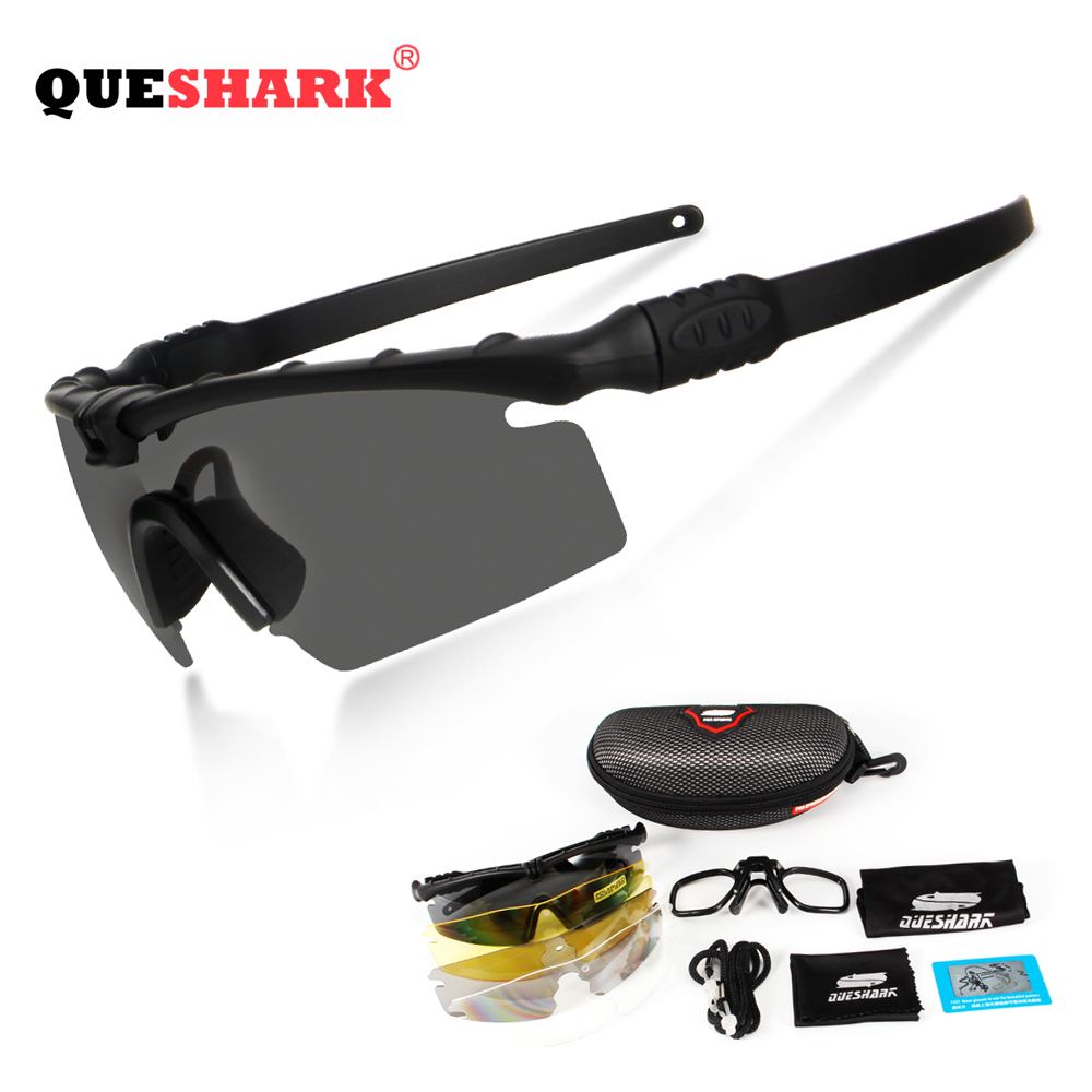 Queshark Army BALLISTIC 3.0 Protection Military Glasses Paintball Shooting Goggles Tactical Polarized Sunglasses Myopia Frame