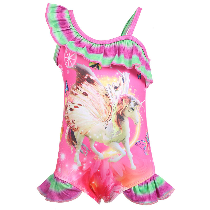 2019 New Toddler Unicorn children swims for girl one piece baby girls unicorn swim kid bathing suit swimming costume 0370 in Tanks Camis from Mother Kids