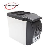 12V Auto Supplies ABS Car Refrigerator 6.0L Fridge Double Use Car Style Portable Car Fridge Cooling Warmer 48W White
