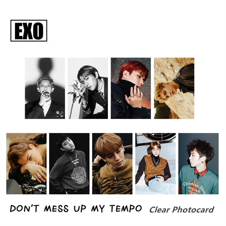 Kpop EXO Don't Mess Up My Tempo PVC Clear Photo Card Chanyeol Sehun HD Collective Photocard 9pcs/set