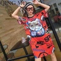 QING MO Summer Women Cat Printing T shirt Women Cartoon Dress Female Thin Ice Silk O neck Women Short Sleeve T shirt Dress QF380