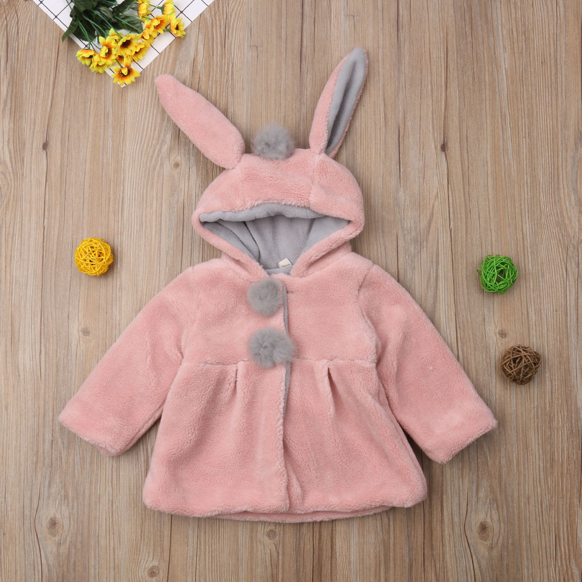 bff90ca251e8 1 4Y Baby Girls Kids Warm Rabbit Ear Bunny Hoodies Coat Winter ...
