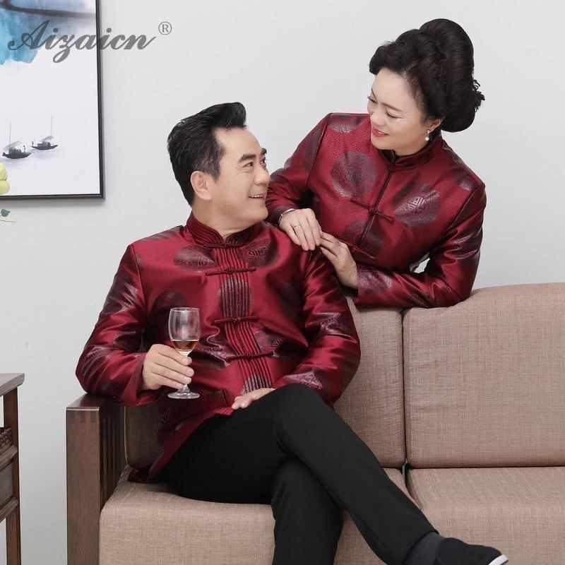 e80342f1e Traditional Chinese Suit Costume Winter Coat China Jacket Father Mother  Satin Cheongsam Top Hanfu Men Elderly