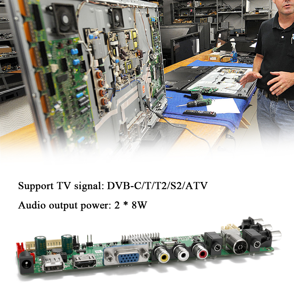 3663 Digital Signal DVB-T2 DVB-T/C Universal LCD TV Controller Driver Board + 7 Key Button+ Inverter CCFL
