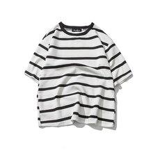 цена на New Short Sleeve T Shirt Men Fashion Striped Casual Summer Short-sleeved Tshirt Man Streetwear Hip-hop T-shirt Trend Male Tops