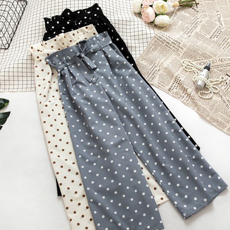 Polka Dot   Wide     Leg     Pant   Trouser Women High Waist With Sashes Ankle   Pant   Female Blue Black Fashion Summer Wear Bottoms