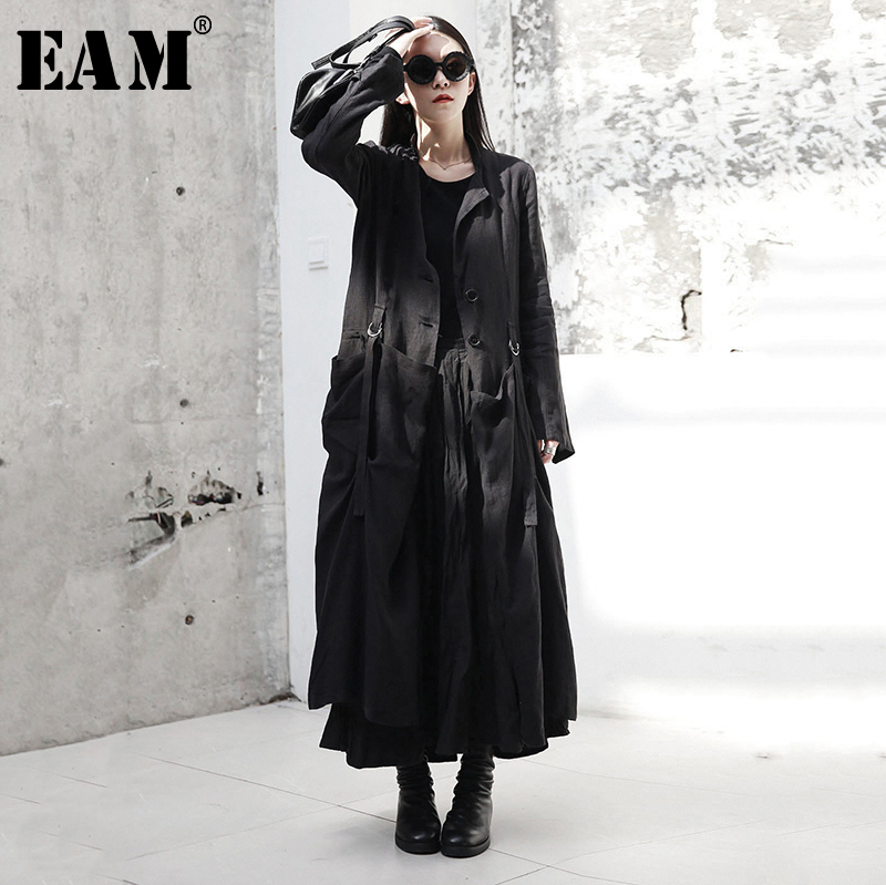 [EAM] 2019 New Autumn Winter Round Neck Long Sleeve Black Buckle Split Joint Loose Long Windbreaker Women Trench Fashion JR485