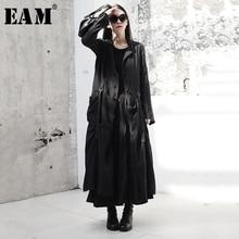 [EAM] Hebilla negra de manga larga con cuello redondo para mujer, cortavientos largo holgado con articulación dividida, a la moda, primavera y otoño, JR485, 2020