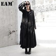 [Eam] 2020春の新作秋ラウンドネック長袖黒バックルスプリットジョイントルーズロングウインドブレーカー女性トレンチファッションJR485