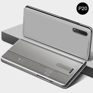 Image 3 - Innovativo Custodia protettiva del Cuoio di Vibrazione Della Copertura di Placcatura Specchio Curvo Del Basamento Anti Collisione Smart Phone Back Protector Per Huawei