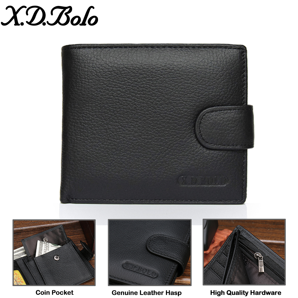 X.D.BOLO Wallet Men Leather Genuine Cow Leather Man Wallets With Coin Pocket Man Purse leather Money Bag Male Wallets Wholesale 2