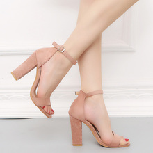 Square High Heel Sandals Large Size Thick Sandals Suede Fish Mouth Women Shoes Beige Pink Sandals Ladies PU High Heel Buckle