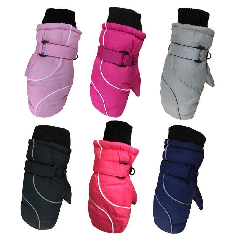 Утолщенные Детские уличные теплые лыжные перчатки водонепроницаемые перчатки для снежного спорта сноуборда катания на лыжах детские варе...