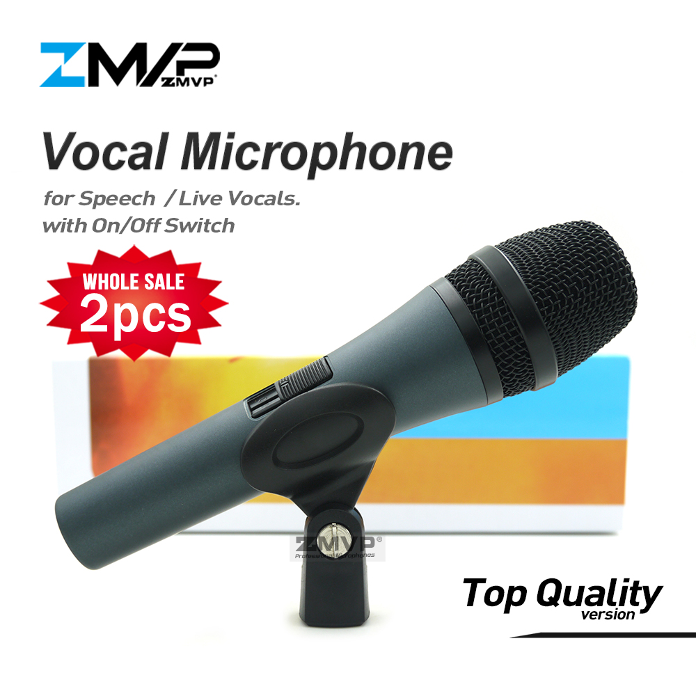 2pcs lot Top Quality E845S Professional Dynamic Super cardioid Live Vocals Speech E845 Wired Microphone Microfone