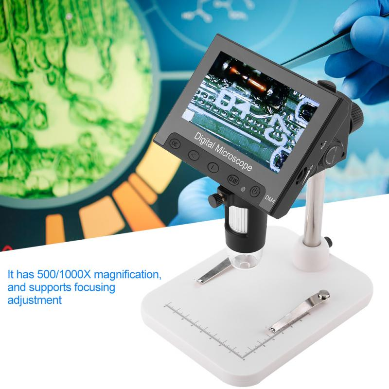 Usb microscope dm4 500/1000x magnification 720p screen resolution digital microscope electronic 8pcs led lights pcb magnifier with 4.3in lcd display(plastic. Portable Digital Magnifier DM4 2MP 500/1000X Digital ...