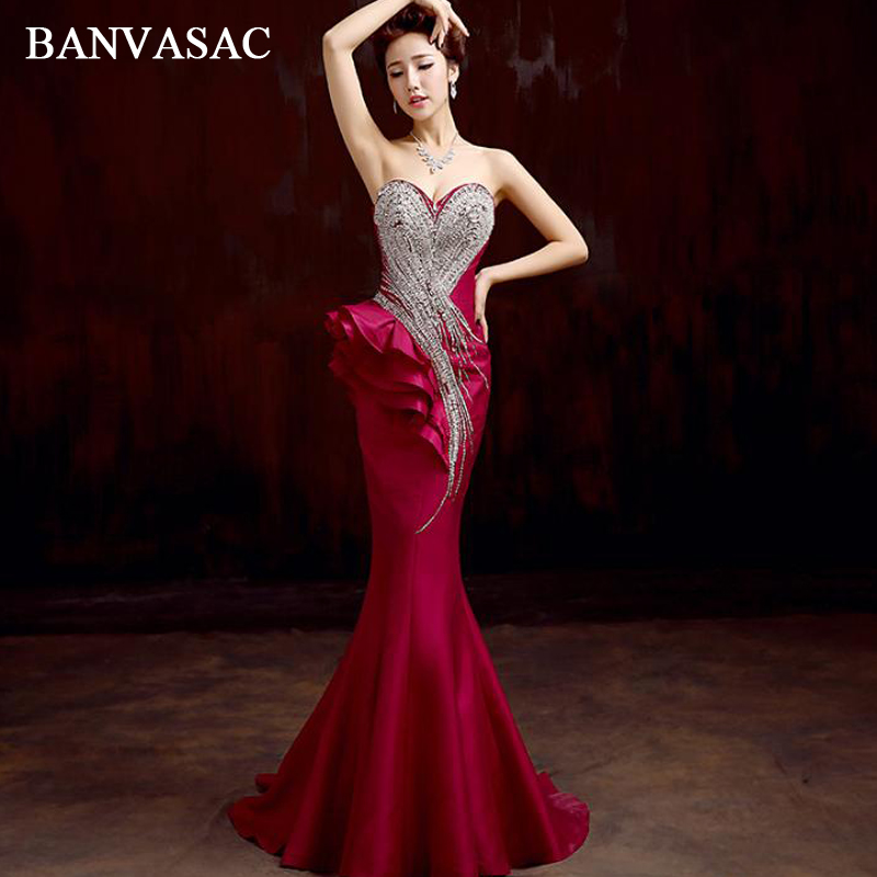 BANVASAC Luxury Crystal Strapless Ruffles Mermaid Long Evening Dresses Party Satin Sweep Train Backless Prom Gowns