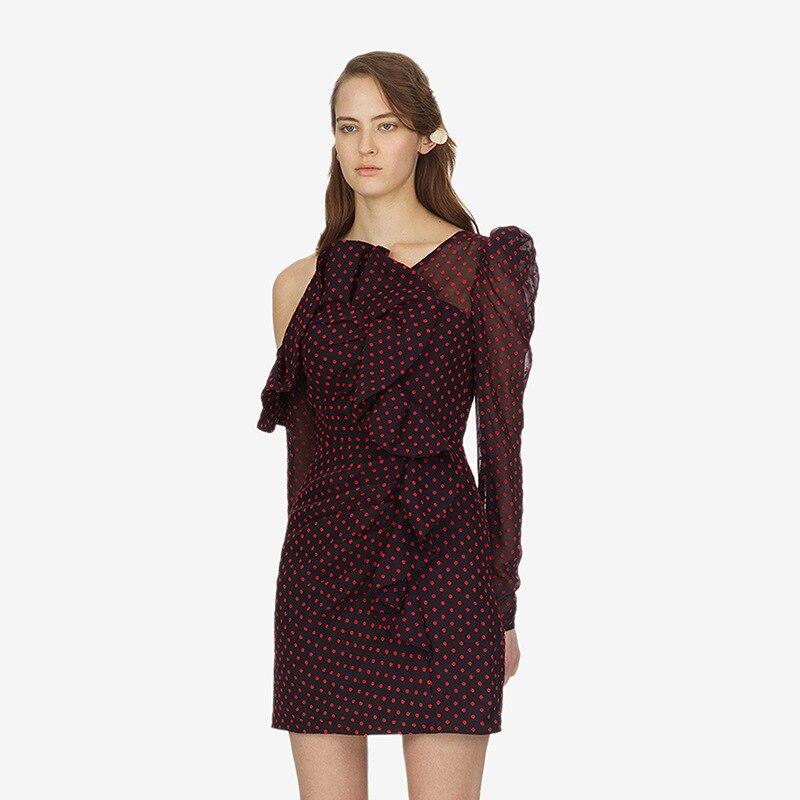 Polka Robe Piste Vêtements Sexy Rouge Mini Nu Élégant Pour Dos Printemps Robes Designer Ruches Encolure Dot Femmes 2019 XiwOPTkZu
