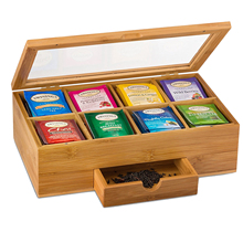 Tea Organizer Bamboo Tea Box with Small Drawer 100% Natural Bamboo Tea Chest — Great Gift Idea
