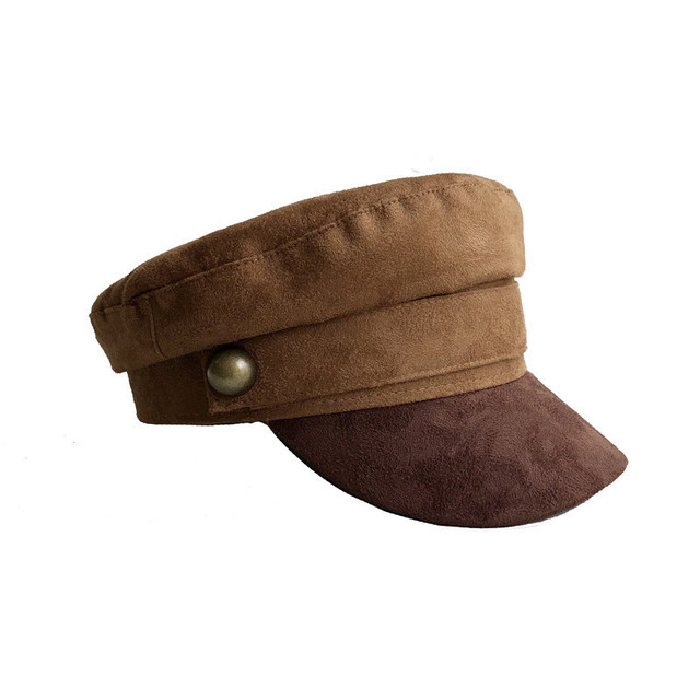 Chamois Leather Military Hat men women Flat Top Army Cap Custom online  celebrity British style Browm beret For Men Women ddee46383c2