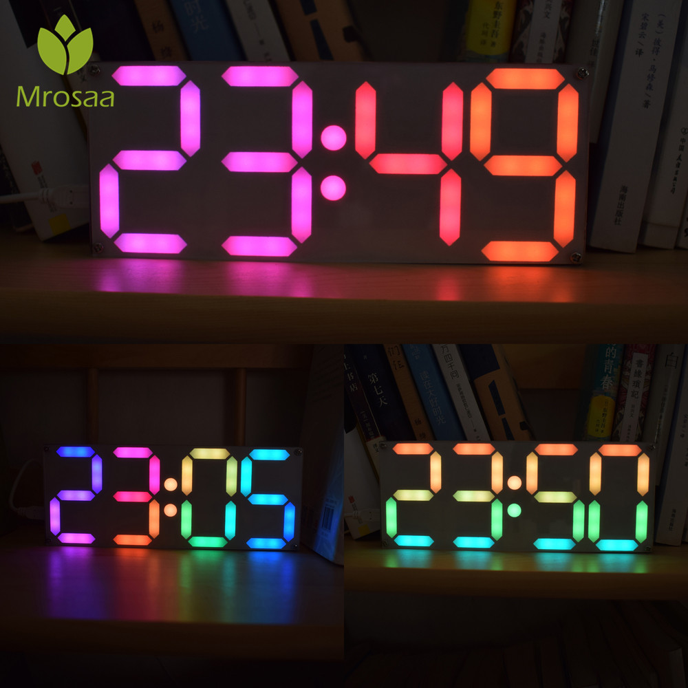 Mrosaa Large Size Rainbow Color Digital Tube DS3231 Clock DIY Kit Time Date Alarm Table Desktop Clocks LED Display image