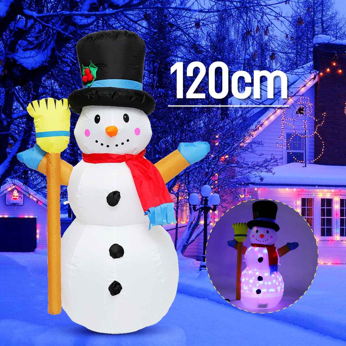 1.2M Christmas Snowman LED Inflatable Model Snowman Doll Broom Cover Christmas Decoration Dressing Supplies+Fan