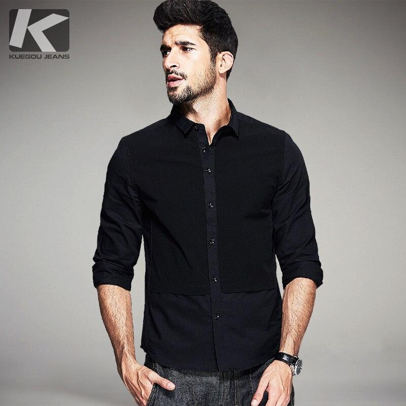 KUEGOU Toamna Mens Casual Tricouri Patchwork Negru Culoare Brand - Imbracaminte barbati