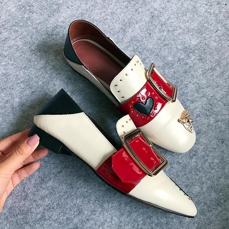 Casual Dame Creepers Mixcolor 43 Ons Chaussures Boucle Slip Appartements Femelle Black En Taille Patchwork Mocassins Grande Nouveau Métal Femmes De Plus white Mode aOwTPxWqU