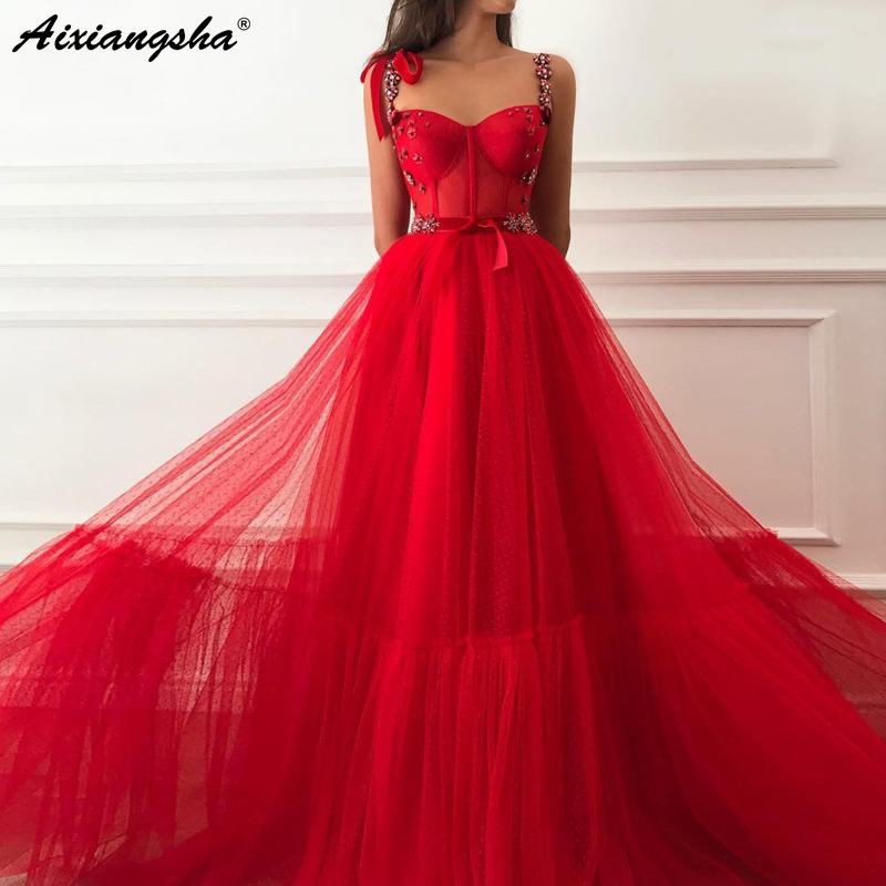 Red Muslim   Evening     Dresses   2019 A-Line Tulle Sweetheart Crystal Straps Islamic Dubai Saudi Arabic Long Formal   Evening   Gown Prom