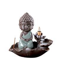 Buddha Incense Burner Smoke Waterfall Backflow Holder Ceramic Small Censer Aromatherapy Environment Bouddha Decor