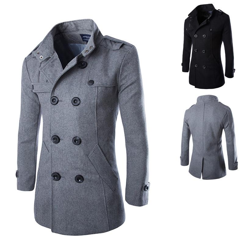 SWYIVY Outwear Men's Woolen Coat Fashion Business Casual Jacket Men's Youth Long Double Breasted Slim Coat Woolen Top Trench