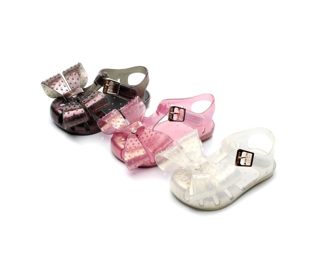 Mini Melissa 2019 New Jelly Sandals Children Bow Sandals Roman Jelly Shoes Non-slip Beach Shoes Melissa Kids Shoes