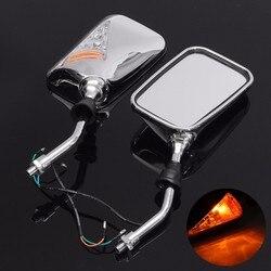 12 V uniwersalny dla motocykli atv skutery para Chrome motocykl lusterko boczne lustra z kolei wskaźnik sygnału światło bursztynowe Lusterka boczne i akcesoria Samochody i motocykle -