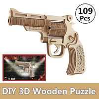 Wooden Revolver Kids 3D DIY Children's Toy Manual Pistol Fun Outdoor Game Shooter Toy Safety for Children Adults Gifts