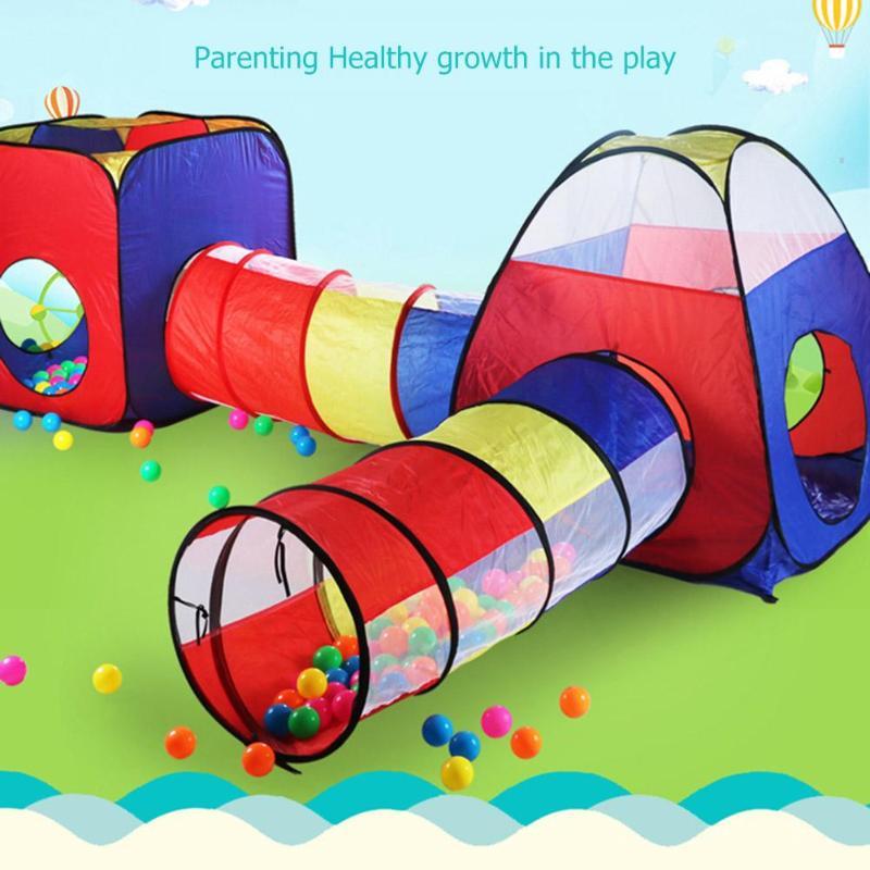 4 pièces Intérieur Extérieur tente d'enfants Jouet Bébé boule de l'océan Jeu maison de jeu Enfants Ramper Pipeline jouet tunnel Pliable Gonflable Tente