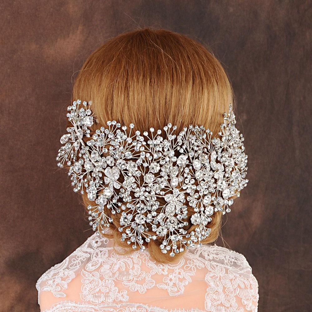 Luxury Clear Crystal Bridal Tiara Handmade Wedding Hair Jewelry Headband Accessories Headpiece Women Crowns Pageant