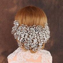 Diadème de mariée de luxe en cristal clair, bijoux de mariage fait à la main, accessoires pour cheveux de mariage, coiffure pour femmes