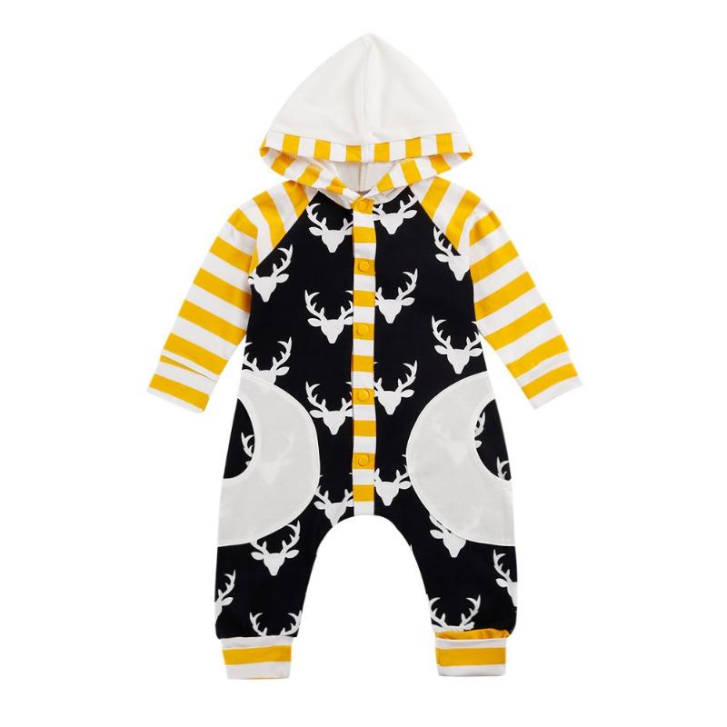 Honest Long Sleeve Newborn Baby Rompers Elk Print Kids Hooded Clothes Front Buttons Toddler Jumpsuit Stripe Pockets Cotton Clothing Easy And Simple To Handle Rompers