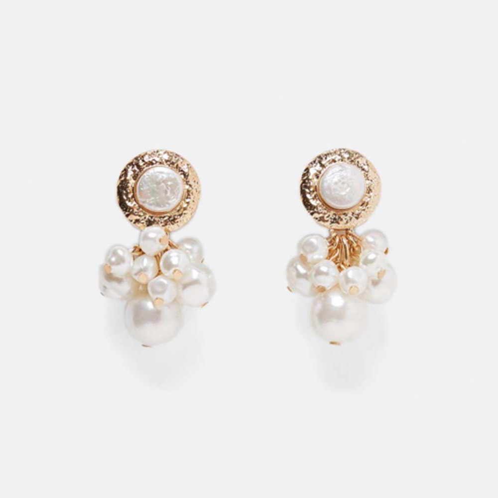2019 Classical Fashion Alloy Earrings Simulated-Pearls Cluster-shaped Drop Earrings Fr Women Girls Wedding Party Jewelry Gifts