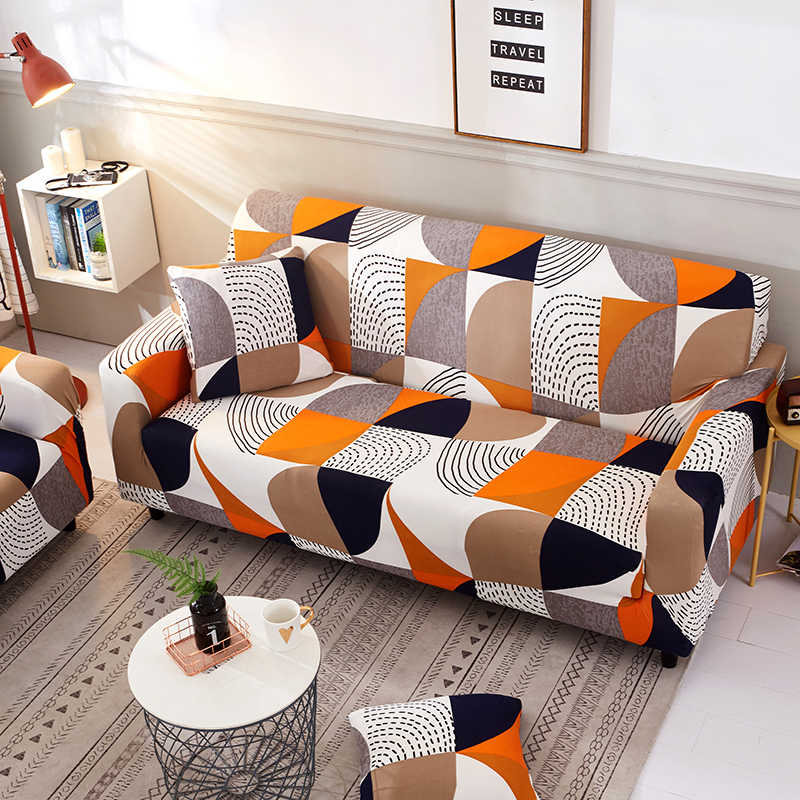 Superb Geometric Stirpes Orange Sofa Cover Elastic Furniture Protector For Living Room Slipcover L Shaped Corner Couch Cover Dailytribune Chair Design For Home Dailytribuneorg