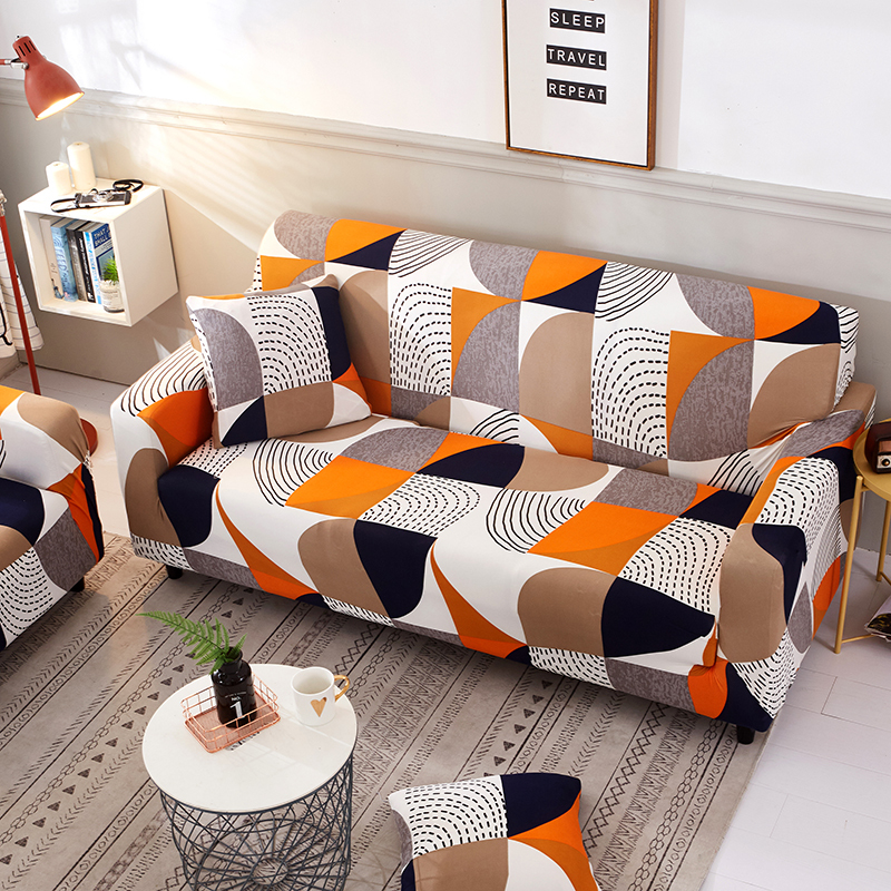 Geometric Stirpes Orange Sofa Cover Elastic Furniture Protector For Living  Room Slipcover L Shaped Corner Couch Cover