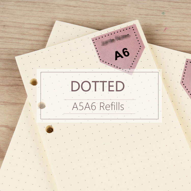 MyPretties 40 Sheets Dotted Refill Papers A5 A6 Filler Papers For 6 Hole Binder Organizer Notebook Papers For Planner