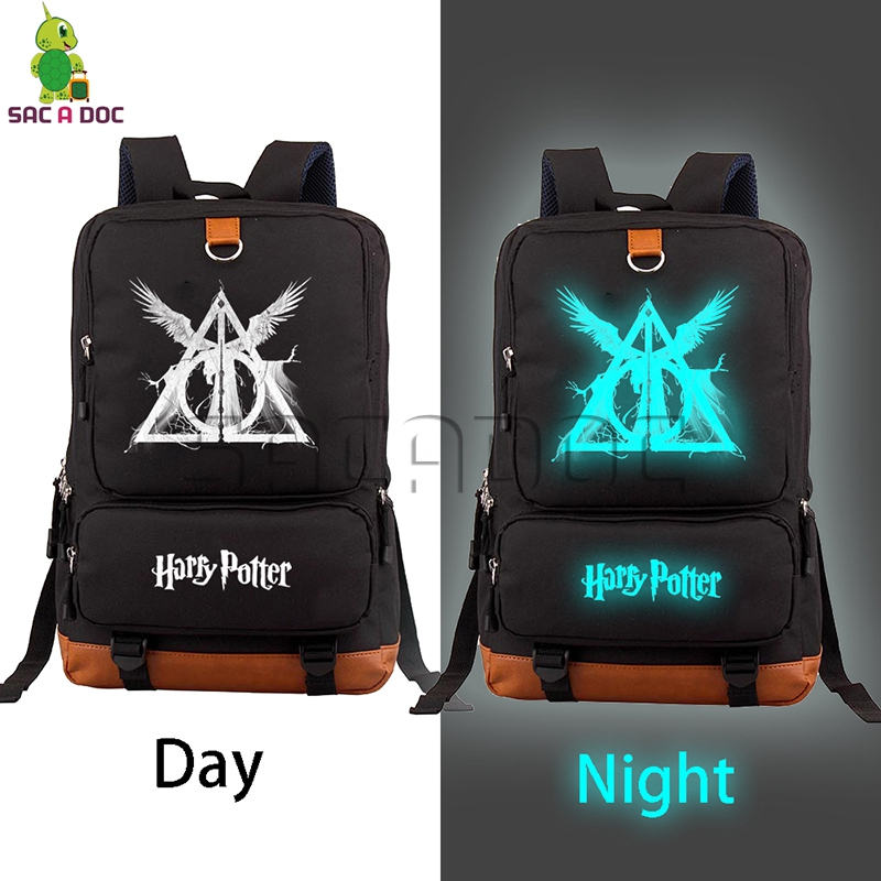 Harri Potter Luminous Backpack Hogwart Deathly Hallows Daily Laptop Backpack for Teenagers Boys Girls Large Capacity School BagsHarri Potter Luminous Backpack Hogwart Deathly Hallows Daily Laptop Backpack for Teenagers Boys Girls Large Capacity School Bags
