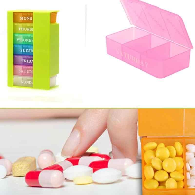 Недельный 7 дней красочный ящик для таблеток, органайзер для хранения лекарств, 21 слот, капсула, разделитель для лекарств, держатель для хранения таблеток
