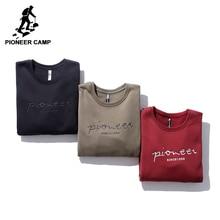 Pioneer camp carta bordado homens hoodies roupas de marca inverno casual grosso quente velo moletom masculino