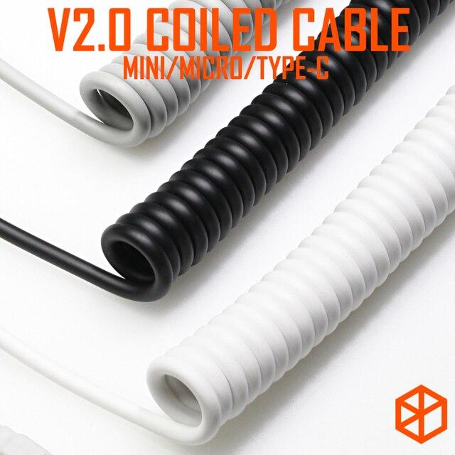 Cable en espiral V2 para teclado mecánico GH60, cable USB mini micro tipo c, puerto USB para póker 2 xd64 xd75 xd96, teléfono móvil