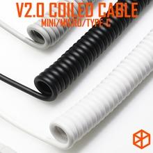 V2 coiled Kabel draht Mechanische Tastatur GH60 USB kabel mini micro typ c USB port für poker 2 xd64 xd75 xd96 handy